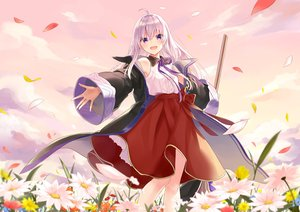 Rating: Safe Score: 40 Tags: azuuru_(azure0608) clouds flowers gray_hair long_hair original purple_eyes ribbons skirt sky User: RyuZU