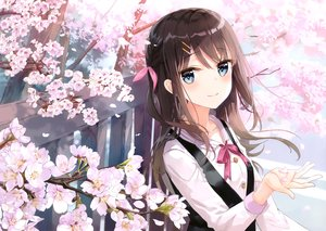 Rating: Safe Score: 74 Tags: blue_eyes brown_hair cherry_blossoms cropped flowers kyouya_kakehi long_hair original petals scan shirt spring User: Nepcoheart