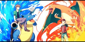 Rating: Safe Score: 55 Tags: achiki all_male blastoise brown_eyes brown_hair charizard fire hat male ookido_green pokemon red_(pokemon) short_hair water User: austerely