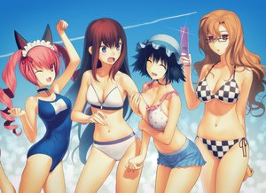 Rating: Safe Score: 318 Tags: animal_ears bikini black_hair blue_eyes breasts brown_hair cat_smile choker cleavage faris_nyannyan glasses group hat headdress kiryuu_moeka koyama_hirokazu long_hair makise_kurisu navel phone pink_eyes pink_hair red_eyes shiina_mayuri short_hair steins;gate swimsuit twintails wink User: Flandre93