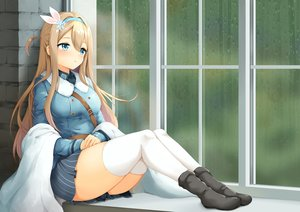 Rating: Safe Score: 85 Tags: anthropomorphism aqua_eyes blonde_hair bloody0rabby boots girls_frontline headband long_hair rain suomi_(girls_frontline) thighhighs water User: BattlequeenYume