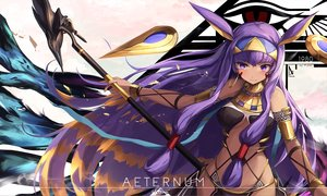 Rating: Safe Score: 65 Tags: animal_ears eruthika fate/grand_order fate_(series) headband long_hair nitocris_(fate/grand_order) purple_eyes purple_hair staff tattoo wristwear User: RyuZU