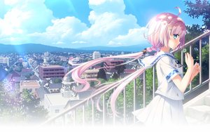 Rating: Safe Score: 39 Tags: aqua_eyes blush braids building city clouds hulotte kokoro_no_katachi_to_iro_to_oto landscape long_hair pink_hair scenic school_uniform skirt sky stairs tagme_(artist) tagme_(character) twintails User: mattiasc02
