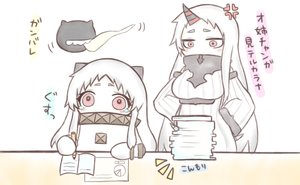 Rating: Safe Score: 60 Tags: 2girls anthropomorphism collar dress gloves horns jako_(jakoo21) kantai_collection loli long_hair northern_ocean_hime paper polychromatic red_eyes seaport_hime waifu2x white_hair User: mattiasc02