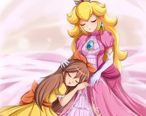 Rating: Safe Score: 23 Tags: 2girls blonde_hair brown_hair christine_(henry) crown dress elbow_gloves long_hair nintendo original princess_peach sigurdhosenfeld sleeping super_mario User: mattiasc02