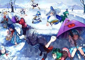 Rating: Safe Score: 65 Tags: futatsuiwa_mamizou group hat hijiri_byakuren houjuu_nue japanese_clothes kaku_seiga kasodani_kyouko kumoi_ichirin miyako_yoshika mononobe_no_futo mousegirl murasa_minamitsu nazrin skirt snow soga_no_tojiko tatara_kogasa thighhighs toramaru_shou touhou toyosatomimi_no_miko umbrella unzan uu_uu_zan User: Flandre93