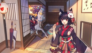 Rating: Safe Score: 69 Tags: animal animal_ears anthropomorphism azur_lane bird black_hair blue_eyes blush bubble1995 cat catgirl clouds fish fubuki_(azur_lane) fusou_(azur_lane) japanese_clothes kimono manjuu_(azur_lane) mask ponytail red_eyes sideboob sky sunset thighhighs tree umbrella white_hair yamashiro_(azur_lane) yellow_eyes User: BattlequeenYume