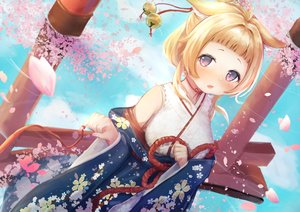 Rating: Safe Score: 59 Tags: animal_ears anthropomorphism ariake_(azur_lane) azur_lane bell blonde_hair choker clouds fang japanese_clothes kimono momiji_manjuu petals purple_eyes reflection rope short_hair torii water User: otaku_emmy