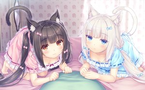 Rating: Safe Score: 45 Tags: 2girls animal_ears black_hair blue_eyes catgirl chocola_(sayori) dress game_cg nekopara neko_works sayori tail twintails vanilla_(sayori) white_hair User: BattlequeenYume