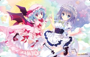 Rating: Safe Score: 48 Tags: 2girls apron aqua_eyes aqua_hair bloomers blush bow dress garter_belt gray_hair hat headdress izayoi_sakuya lolita_fashion maid moon red_eyes remilia_scarlet shiwasu_horio short_hair stars stockings thighhighs touhou vampire watermark wings wristwear zettai_ryouiki User: aaayu