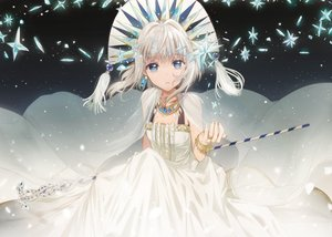 Rating: Safe Score: 74 Tags: blue_eyes cape dangmill dress headdress necklace original staff white_hair wristwear User: luckyluna