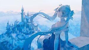 Rating: Safe Score: 71 Tags: blue_eyes blue_hair building cape dress hatsune_miku long_hair mimengfeixue polychromatic snow tiara tree twintails vocaloid yuki_miku User: sadodere-chan