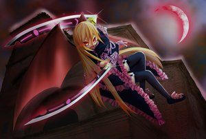 Rating: Safe Score: 92 Tags: blonde_hair goth-loli gyony lolita_fashion original red_eyes vampire weapon wings User: Zolxys