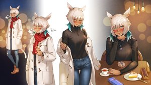 Rating: Safe Score: 29 Tags: animal_ears blush cake catgirl final_fantasy final_fantasy_xiv food gray_eyes gray_hair haimerejzero miqo'te scarf short_hair y'shtola_rhul User: SciFi