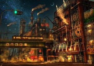 Rating: Safe Score: 84 Tags: industrial night nobody original scenic sky stars tokyogenso train watermark User: RyuZU