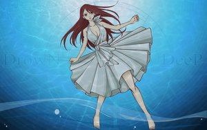 Rating: Safe Score: 55 Tags: barefoot breasts brown_eyes cleavage dress erza_scarlet fairy_tail long_hair red_hair underwater water watermark User: 秀悟