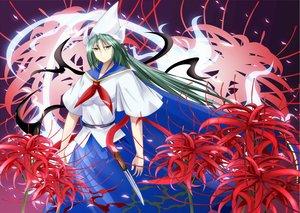 Rating: Safe Score: 27 Tags: cape flowers green_eyes green_hair hat inoshira knife long_hair mima touhou weapon User: kokiriloz