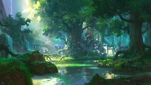 Rating: Safe Score: 98 Tags: all_male animal bird forest grass landscape ling_xiang male original scenic signed tree water User: RyuZU