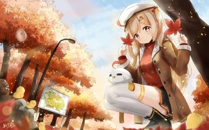 Rating: Safe Score: 71 Tags: animal autumn bird blonde_hair duck hat kyod+ leaves long_hair original signed skirt thighhighs tree yellow_eyes User: RyuZU