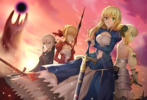 Rating: Safe Score: 152 Tags: artoria_pendragon_(all) blonde_hair dress fate_(series) fate/stay_night fate/zero green_eyes nero_claudius_(fate) qiuzhi_huiyi saber saber_alter saber_lily sword weapon User: opai