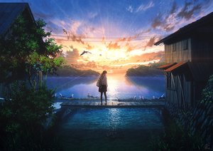 Rating: Safe Score: 92 Tags: animal bird building clouds grass hoodie long_hair mocha_(cotton) original pantyhose scenic signed skirt sky sunset water User: BattlequeenYume
