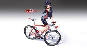 Rating: Safe Score: 51 Tags: bicycle bike_shorts black_hair blue_eyes glasses gloves gradient hitomi_kazuya long_hair original photoshop shorts skintight watermark wink User: gnarf1975