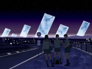Rating: Safe Score: 36 Tags: 3girls city moon night original scenic seifuku shiira sky stars User: STORM