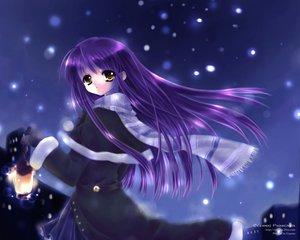 Rating: Safe Score: 29 Tags: capura_lin long_hair night original purple_hair snow yellow_eyes User: Oyashiro-sama