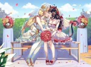 Rating: Safe Score: 93 Tags: 2girls animal_ears blonde_hair blush breasts brown_hair catgirl cleavage clouds dress flowers kiss long_hair original pinb rose shoujo_ai sky tail thighhighs twintails watermark wedding wedding_attire User: BattlequeenYume