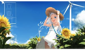 Rating: Safe Score: 87 Tags: bicolored_eyes blush cg_(2686805355) clouds dress fang flowers hat kagura_mea kagura_mea_channel loli long_hair sky summer_dress sunflower white_hair windmill wristwear User: otaku_emmy