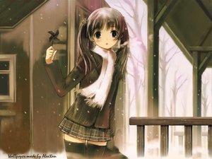 Rating: Safe Score: 84 Tags: black_eyes black_hair flowers kawata_hisashi mizuki_mana scarf signed skirt snow thighhighs tree twintails white_album User: Oyashiro-sama