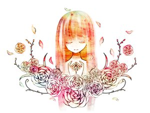 Rating: Safe Score: 38 Tags: flowers long_hair mirimo original petals rose white User: MissBMoon