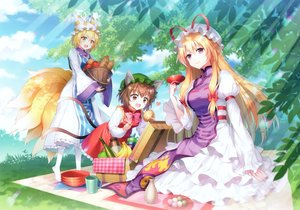 Rating: Safe Score: 52 Tags: an2a animal_ears apple blonde_hair brown_eyes brown_hair catgirl chen cropped dress fang food foxgirl fruit long_hair multiple_tails purple_eyes scan short_hair sky tail touhou tree yakumo_ran yakumo_yukari yellow_eyes User: Nepcoheart