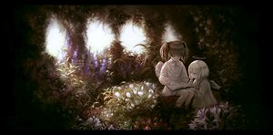 Rating: Safe Score: 33 Tags: 2girls aki_(xxparadexx) angel book brown_hair dress flowers gray_eyes halo leaves loli original twintails white_hair wings User: otaku_emmy