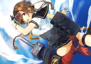 Rating: Safe Score: 4 Tags: anthropomorphism braids brown_hair fukazaki kantai_collection long_hair nopan skirt_lift teruzuki_(kancolle) twintails User: BattlequeenYume