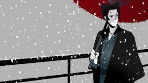 Rating: Safe Score: 12 Tags: all_male bakemonogatari black_eyes black_hair kaiki_deishuu male monogatari_(series) short_hair snow umbrella vector User: RyuZU