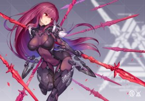 Rating: Safe Score: 148 Tags: blush bodysuit breasts fate/grand_order fate_(series) long_hair navel nidy-2d- petals purple_hair red_eyes scathach_(fate/grand_order) skintight skirt_lift spear watermark weapon User: RyuZU