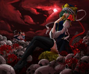 Rating: Safe Score: 83 Tags: daico flowers green_eyes green_hair moon onozuka_komachi saigyouji_yuyuko scythe shikieiki_yamaxanadu skirt thighhighs touhou weapon zettai_ryouiki User: acucar11