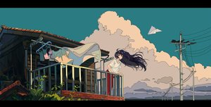 Rating: Safe Score: 107 Tags: aircraft black_hair building clouds kogecha_(coge_ch) long_hair original User: FormX