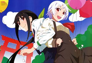 Rating: Safe Score: 27 Tags: 2girls akiba_touru bakemonogatari black_hair clouds dress hachikuji_mayoi long_hair monogatari_(series) owarimonogatari red_eyes scan sengoku_nadeko short_hair torii watermark white_hair User: RyuZU