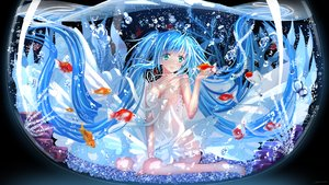 Rating: Safe Score: 147 Tags: animal aqua_eyes aqua_hair barefoot blue_eyes blue_hair bubbles dress fish hatsune_miku long_hair signed swordsouls twintails vocaloid water User: FormX