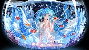 Rating: Safe Score: 147 Tags: animal aqua_eyes aqua_hair barefoot blue_eyes blue_hair bubbles dress fish hatsune_miku long_hair signed swordsouls twintails vocaloid water User: FormX