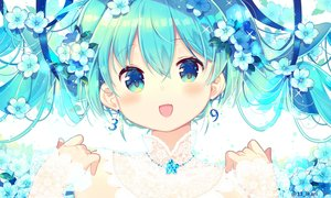 Rating: Safe Score: 27 Tags: aqua_eyes aqua_hair close flowers hatsune_miku ikari_(aor3507) long_hair ribbons twintails vocaloid User: sadodere-chan