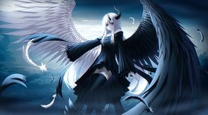 Rating: Safe Score: 38 Tags: bicolored_eyes feathers gothic horns kmj8645885 long_hair original white_hair wings zettai_ryouiki User: kyxor