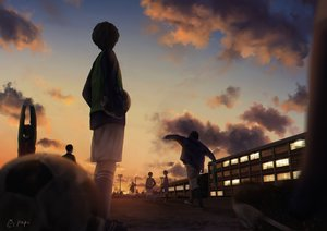 Rating: Safe Score: 45 Tags: ball building clouds group male original papi_(papiron100) realistic short_hair shorts signed sky soccer socks sport sunset User: RyuZU