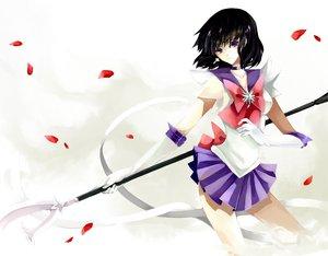 Rating: Safe Score: 34 Tags: black_hair nako_(nonrain) petals ribbons sailor_moon sailor_saturn short_hair skirt tomoe_hotaru weapon User: Tensa