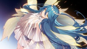 Rating: Safe Score: 18 Tags: blue_hair halo long_hair sougishi_ego stars wings yellow_eyes User: Maboroshi