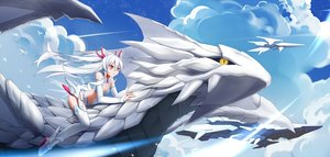 Rating: Safe Score: 98 Tags: aliasing animal armor clouds dragon elbow_gloves gloves long_hair night original red_eyes sky stars tagme_(artist) thighhighs white_hair yellow_eyes User: BattlequeenYume