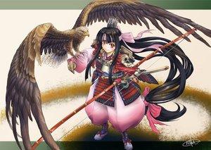 Rating: Safe Score: 18 Tags: animal bird bow_(weapon) long_hair naka_(nicovideo14185763) original samurai weapon User: FormX