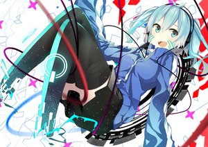 Rating: Safe Score: 197 Tags: blue_eyes blue_hair ene_(kagerou_project) headphones kagerou_project nmaaaaa short_hair skirt thighhighs twintails User: Flandre93